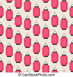 Seamless pattern with flat vector lantern