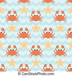 Seamless pattern with flock of cute cartoon crabs and starfishes