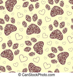 seamless pattern with floral animal paw print - vector...