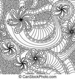 Seamless pattern with floral elements - Black and white...