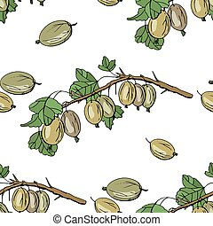 Seamless pattern with floral elements on white. Endless texture with gooseberry
