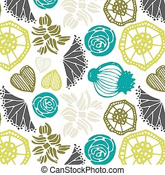 Seamless pattern with floral elements .  Vector abstract background.
