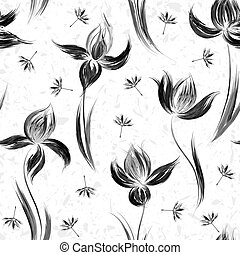 Seamless pattern with floral ornament, irises in a grunge style on white background.