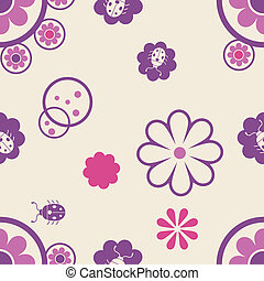 Seamless pattern with flowers and bugs