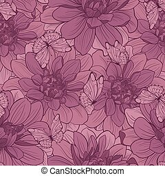 Seamless pattern with flowers and butterfly . Floral ornament.