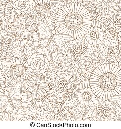 Seamless pattern with flowers and butterfly. Ornate zentangle seamless texture, pattern with abstract flowers.