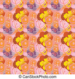 Seamless pattern with flowers and circles