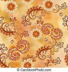seamless pattern with flowers and curls in mixed media on...