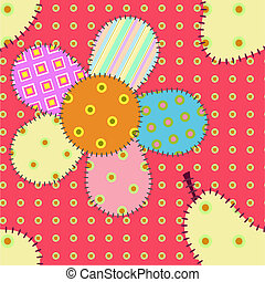 Seamless pattern with flowers and p