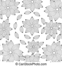 seamless pattern with flowers. Coloring for adult anti-stress