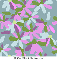 Seamless pattern with flowers gouache