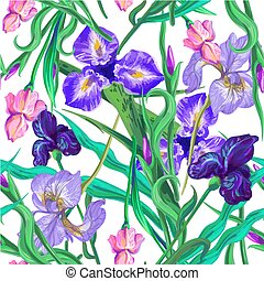 Seamless pattern with flowers. Iris. Vector. Hand drawn.