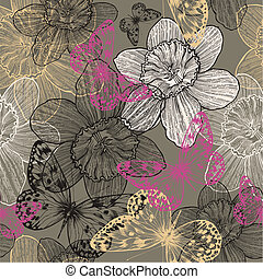 Seamless pattern with flowers narcissus and pink butterflies, hand drawing. Vector illustration.