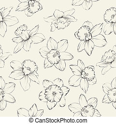 Seamless pattern with flowers narcissus.  illustration.