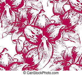 Seamless pattern with flowers of amaryllis