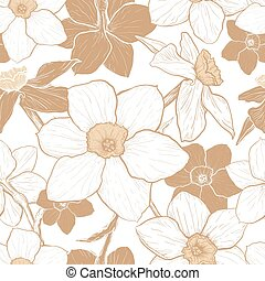 Seamless pattern with flowers of Narcissus