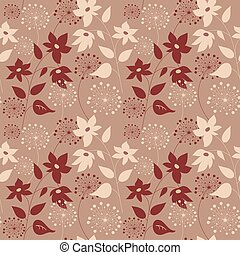 Seamless pattern with flowers on a beige background