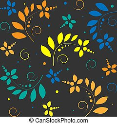 seamless pattern with flowers on a dark gray background