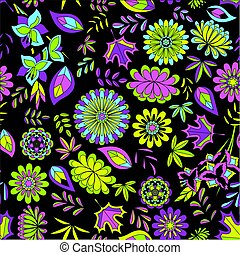 Seamless pattern with flowers on black