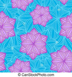 Seamless Pattern with Flowers on Blue Background
