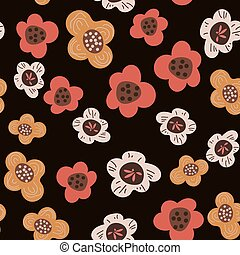 Seamless pattern with flowers on dark background