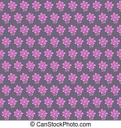 Seamless pattern with flowers on gray background