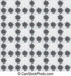 Seamless pattern with flowers on gray