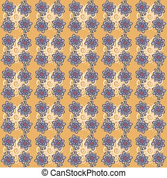 Seamless pattern with flowers on orange background