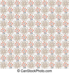 Seamless pattern with flowers on white background