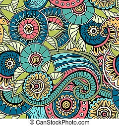 Seamless pattern with flowers. Ornate zentangle texture.