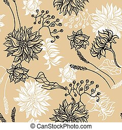 Seamless pattern with flowers. Vector background for you design