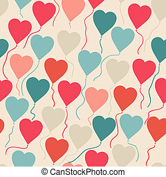 Seamless pattern with flying balloons in the shape of a heart.