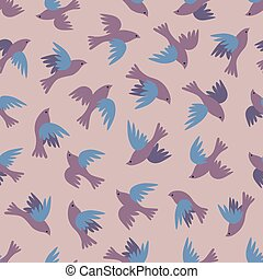 Seamless pattern with flying birds.  Flock of birds simple vector background