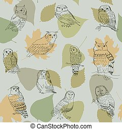 Seamless pattern with forest owls on a background of leaves