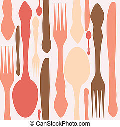 seamless pattern with forks, spoons end knifes. Vector illustration.