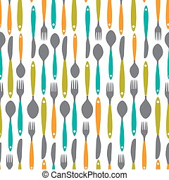 Seamless Pattern with Forks, Spoons end Knifes. Vector Illustrat