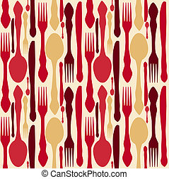 seamless pattern with forks, spoons end knifes. Vector...