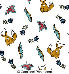Seamless pattern with fox. fox