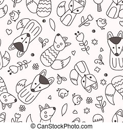 seamless pattern with fox.