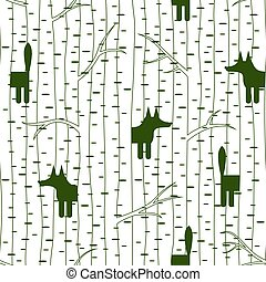 Seamless pattern with fox in forest