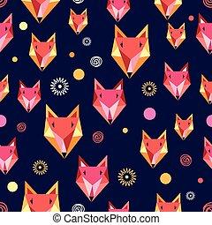 Seamless pattern with fox portrait