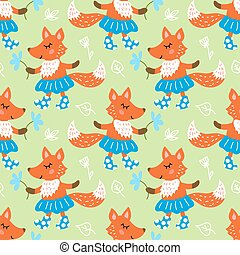 Seamless pattern with fox