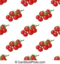 Seamless pattern with fresh red tomato vegetable. Tomato cherry branch. Organic food. Cartoon style. Vector illustration for design, web, wrapping paper, fabric, wallpaper.