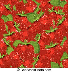 Seamless pattern with fresh strawberries.