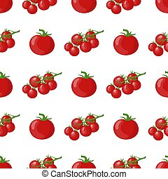 Seamless pattern with fresh tomato and cherry tomato branch vegetables. Organic food. Cartoon style. Vector illustration for design, web, wrapping paper, fabric, wallpaper.