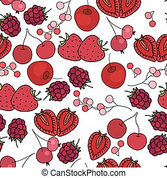 Seamless pattern with fruits and berries - cherry, strawberry and raspberry. Endless texture, white background.