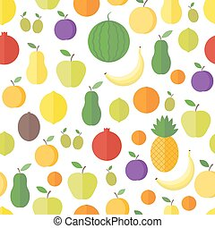 Seamless pattern with fruits and berries. Vector background