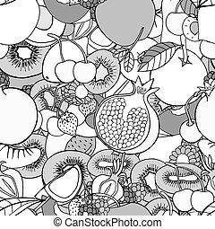 Seamless pattern with fruits - Monochrome Seamless pattern...