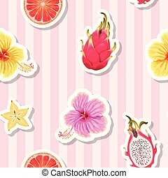 Seamless pattern with fruits on striped background