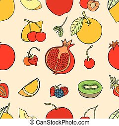 Seamless pattern with fruits - Seamless pattern with set of...
